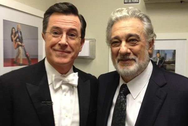 Stephen Colbert sings with Placido Domingo