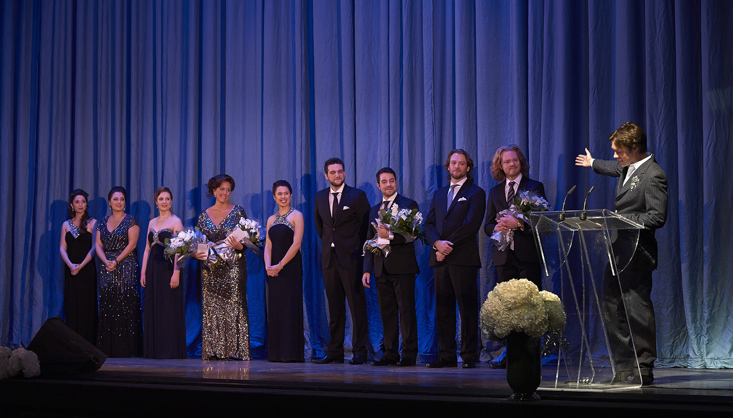 Ensemble Studio Competition finalists and winners with Centre Stage host Rufus Wainwright, 2013. Photo: Michael Cooper