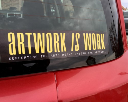 Artwork Is Work Bumper Sticker - Art Life and Stilettos
