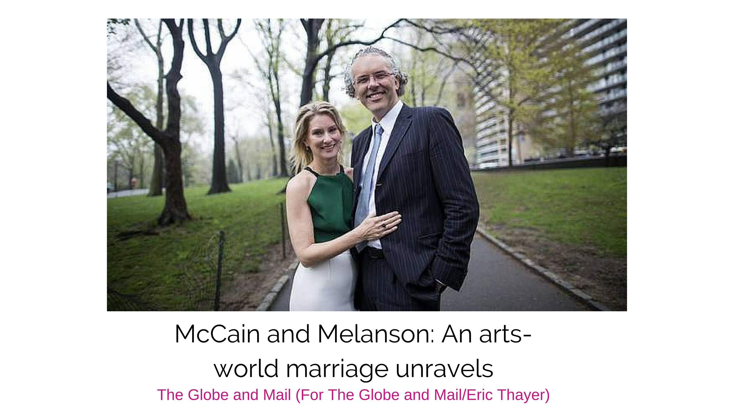 After a whirlwind romance, Jeff Melanson and Eleanor McCain wed in April, 2014, shortly before they were photographed in New York. (For The Globe and Mail/Eric Thayer)