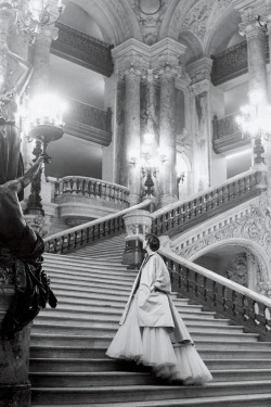 Christian Dior's tulle ballgown on the grand staircase at the Paris Opera, 1948